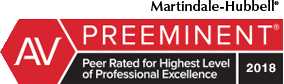 2016 AV Preeminent Martindale-Hubbell Rating for Ethnical Standards and Legal Ability